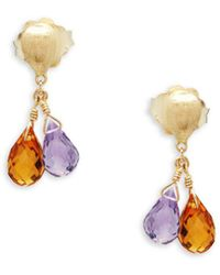 Marco Bicego - Quartz And 18k Yellow Gold Faceted Double Drop Earrings - Lyst
