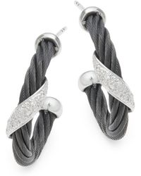 Alor - 18k White Gold & Sterling Silver Diamond Studded Earrings - Lyst