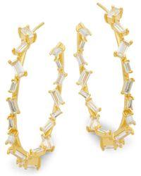Pure Navy - Crystal And Sterling Silver Hoop Earrings - Lyst