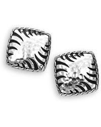 John Hardy - Sterling Silver Square Earrings - Lyst