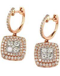 Effy - Diamond & 14k Rose & White Gold Drop Earrings, 1.29 Tcw - Lyst