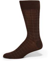 Saks Fifth Avenue - Windowpane Cotton Dress Socks - Lyst