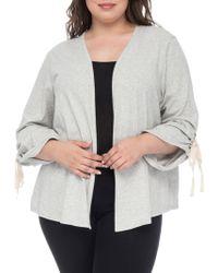 Bobeau - Nia Ruched-sleeve Cotton Cardigan - Lyst