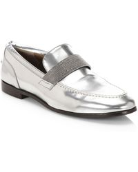 Brunello Cucinelli - Mirror Effect Leather Loafers - Lyst