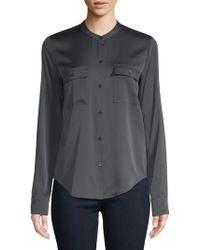 Vince - Long-sleeve Curved Hem Button-down Shirt - Lyst