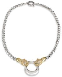CZ by Kenneth Jay Lane - Two-tone Pavé Panthers Crystal Roll Chain Necklace - Lyst