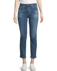 AG Jeans - Isabelle High-rise Straight Cropped Jeans - Lyst