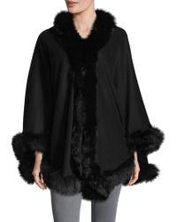 Belle Fare - Fox Fur-trimmed Cashmere Cape - Lyst