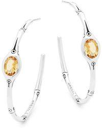 John Hardy - Honey Citrine And Silver Hoop Earrings - Lyst