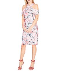 RACHEL Rachel Roy - Printed Cold-shoulder Lace Ruffle Dress - Lyst