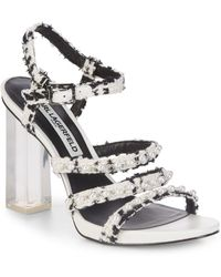 KARL LAGERFELD PARIS Lara7 Denim Pearl Detail Block Heel Strappy Dress Sandals OdXKxN9
