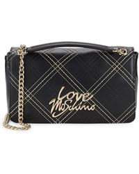 1fe3ac0cf3011 Love Moschino Women's Black Faux Leather Shoulder Bag in Black - Lyst