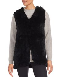 Saks Fifth Avenue - Rabbit Fur Hooded Vest - Lyst