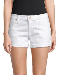 7 For All Mankind - Classic Rollup Denim Shorts - Lyst