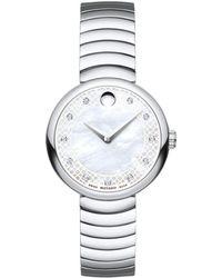 Movado - Myla Stainless Steel Curved Link Bracelet Watch - Lyst