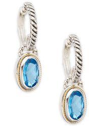 Effy - Blue Topaz, Sterling Silver & 18k Yellow Gold Drop Earrings - Lyst