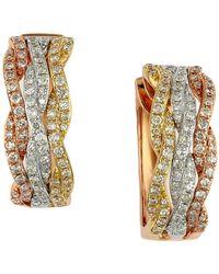 Effy - 14 Kt Gold Diamond Hoop Earrings - Lyst