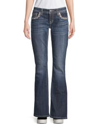 Miss Me Embellished Border Bootcut Jeans - Blue