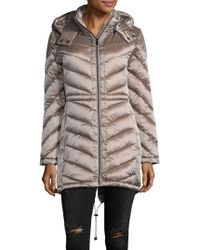 Belle By Badgley Mischka - Melrose Chevron Quilted Puffer Coat - Lyst