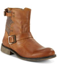 Steve Madden - Embossed Leather Buckle Boots - Lyst