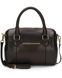 Saks Fifth Avenue Black - Metal Bar Leather Satchel - Lyst