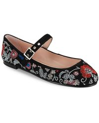 Avec Les Filles - Renee Embroidered Mary Jane Flats - Lyst