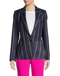 Oscar de la Renta - Striped Wool Blend Jacket - Lyst