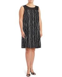 Vince Camuto - Printed Illusion Dress - Lyst