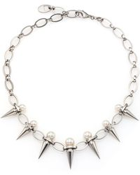Majorica - 8mm-10mm White Pearl Spike Chain Necklace - Lyst