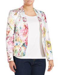 Basler - Plus Size Floral Open Front Blazer - Lyst