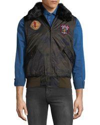 American Stitch - Faux Fur Collar Vest - Lyst
