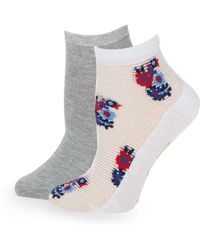 Juicy Couture - Two-pack Floral And Heathered Ankle Socks - Lyst