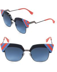 Fendi - Striped 50mm Clubmaster Sunglasses - Lyst