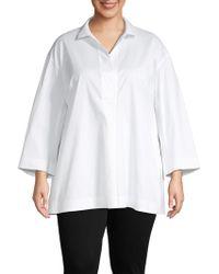 77290428f35e76 Lafayette 148 New York Bernice Mandarin Collar Blouse in White - Lyst
