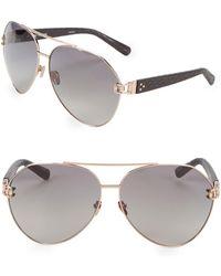 feecc81951d6 Linda Farrow - 60mm Snakeskin Arm Aviator Sunglasses - Lyst