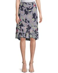 See By Chloé - Palm-print Ruffle-trimmed Silk Skirt - Lyst