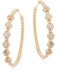 Pure Navy - Cubic Zirconia And Sterling Silver Hoop Earrings - Lyst
