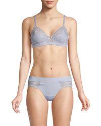5111dfa352 Calvin Klein - Ck Black Garden Stripe Lace Lightly Lined Triangle Bra - Lyst