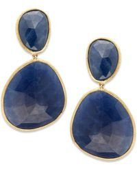 Marco Bicego - Unico Sapphire & 18k Gold Hand-made Drop Earrings - Lyst
