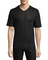 Vince - Raw Edge V-neck Linen T-shirt - Lyst