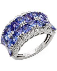 Effy - Diamond, Tanzanite & 14k White Gold Ring - Lyst