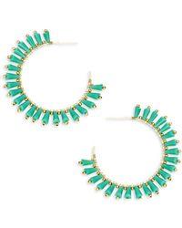 Panacea - Goldplated Green Crystal Pronged Hoop Earrings - Lyst
