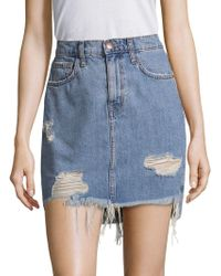 Current/Elliott - Distressed Denim Mini Skirt - Lyst
