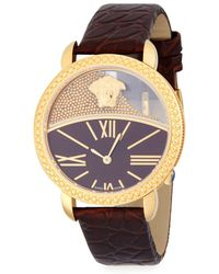 Versace - Stainless Steel And Leather-strap Watch - Lyst