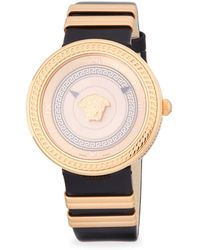 Versace - Logo Stainless Steel And Leather-strap Watch - Lyst