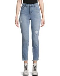 Max Studio - High-rise Destroyed Skinny Crop Jeans - Lyst