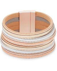 Panacea - Tri-tone And Leather Multi-strand Bracelet - Lyst