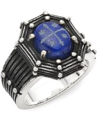 King Baby Studio - Lapis And Sterling Silver Cross Ring - Lyst