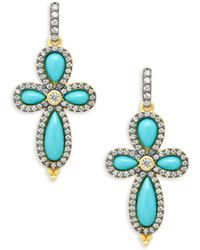 Freida Rothman - Pavé Crystal & Turquoise Clover Drop Earrings - Lyst