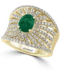 Effy - Diamond, Emerald & 14k Yellow Gold Ring - Lyst
